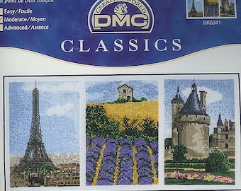 DMC Counted Cross Stitch  - Tryiptych of France - completed item