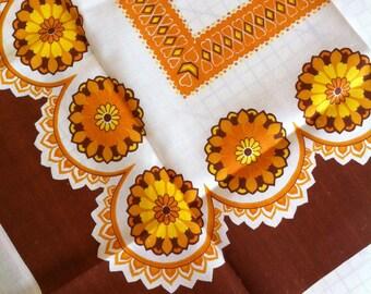 70's Vintage NOS orange FLOWER POWER tablecloth