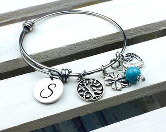 Customized Initial Expandable Bangle Bracelet, Charm bracelet, personalized, bangle, birthstone