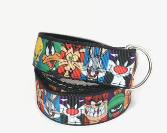 Children's Belt with Looney Tunes,velcro belt or D-ring Adjustable, cartoon black belt