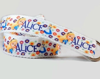 Alice in Wonderland toddlers belt Adjustable Cotton girls Belt, D-ring or velcro belt