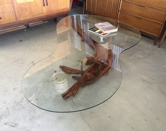Large Mid Century Modern Driftwood Coffee Table Organic Kidney Glass Atomic Boomerang