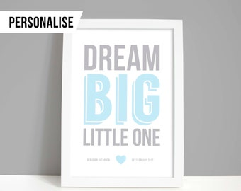 Nursery print, Nursery gift, Personalised new baby gift, baby boy or girl decor, Dream big little one A4 or A5 print