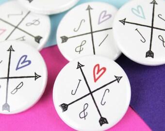 Personalised wedding favours, custom wedding badge or magnet, wedding gift
