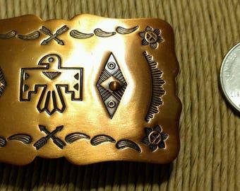 Vintage Native American Solid Copper eagle belt buckle