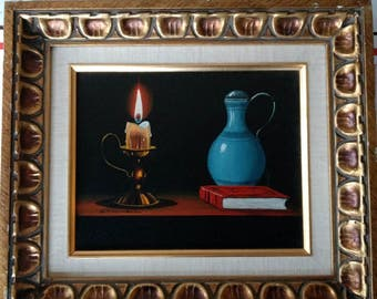 Vintage Mid Century Decor Oil on Canvas Stilllife Painting Signed Stillwell