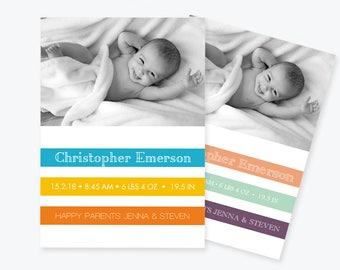 Baby Birth Announcement Photo Invitation Template, Colorful Stripe Printable Invite, Baby Announcement, Editable PDF Template, DIY You Print
