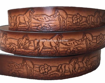 Horse Leather Name Belt