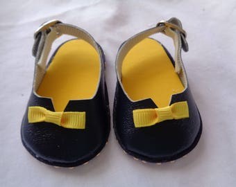Navy Blue and Yellow  -18 inch Doll  Slip On Sling back Sandal Loafers-shown on my american girl doll