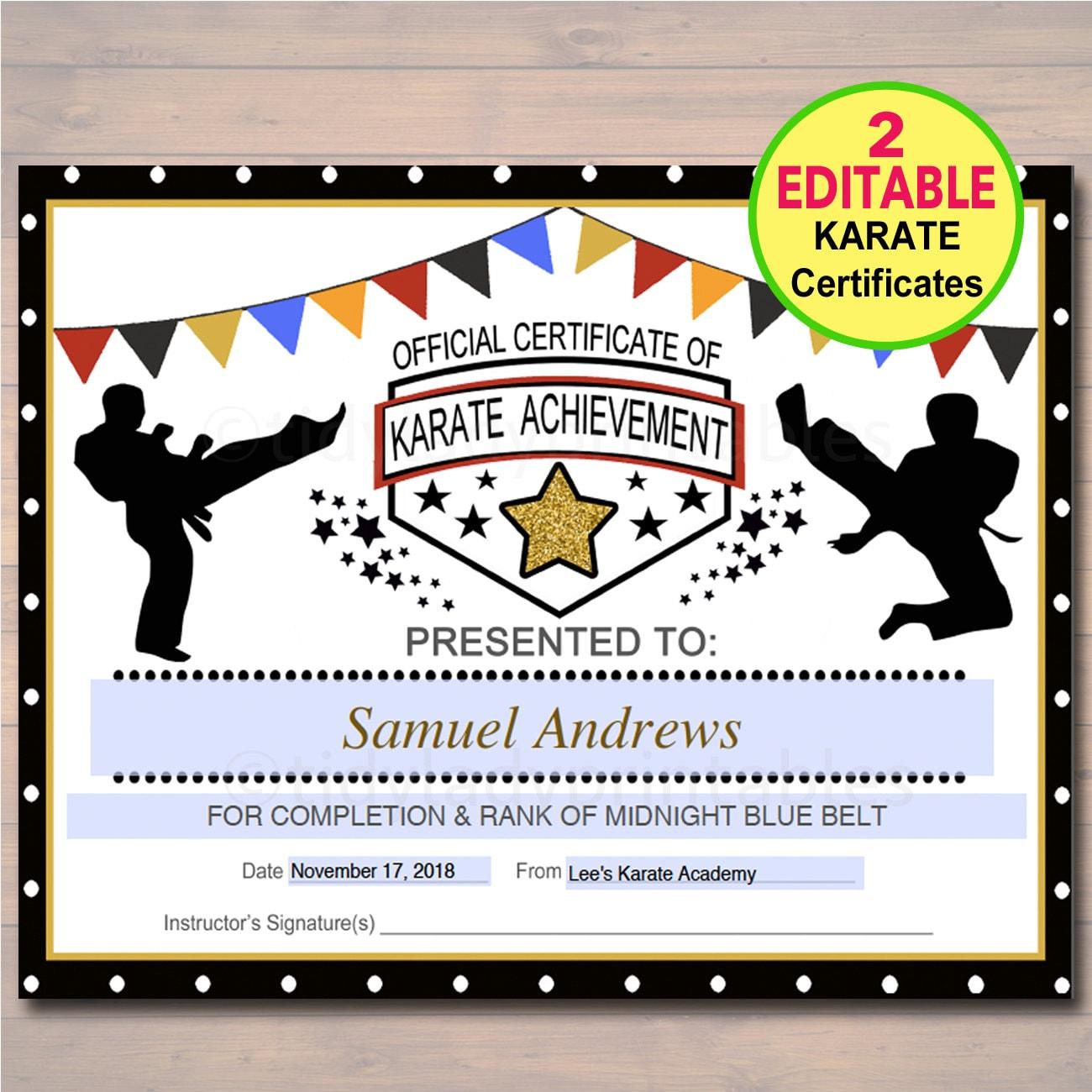 EDITABLE Karate Certificates INSTANT DOWNLOAD Karate Belt