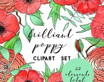 Floral Clipart, Watercolor Poppy Clipart, Watercolor Clipart, Wedding Clipart, Flower Clipart, Hand Painted Clipart