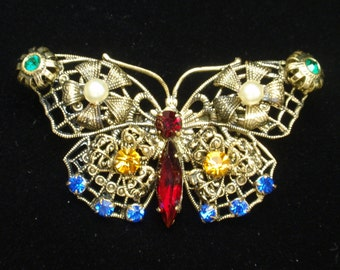 Butterfly Pin Vintage Brooch with Nulti-Colored Rhinestone