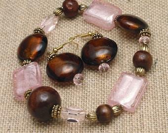 Bracelet Earrings Set Large Pink and Brown Stones