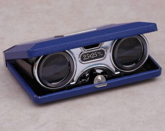 A pair of vintage Japanese 1950s folding opera/sport glasses or binoculars, in original box