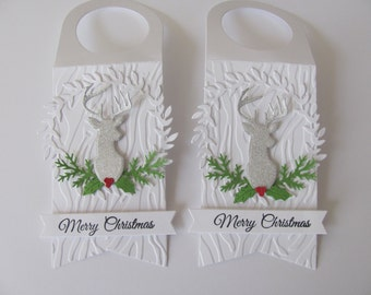 Wine Bottle Tags, Deer Gift Tags, Christmas Gift Tags, Set of 2, Christmas Wine Bottle Gift Tags, Merry Christmas Gift Tags, Christmas Tag