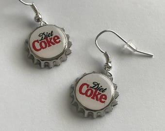 Diet Coke Handmade Bottle Cap  mini bottle cap earrings altered art
