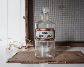 Antique gold leaf gilded glass apothecary bottle c.1900's