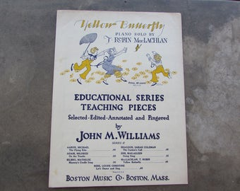 Sheet Music Yellow Butterfly, Vintage Sheet Music for Yellow Butterfly, 1928 Sheet Music Yellow Butterfly, Educational Series Sheet Music