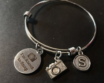 I'M ABOUT TO SNAP (photographer) Adjustable Stainless Steel Bangle Bracelet with Initial Charm