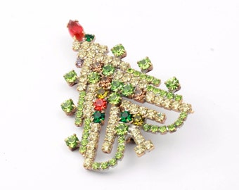 Vintage hand crafted Czech Bohemian glass rhinestone Christmas tree jewelry pin brooch green red