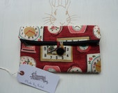 Handmade Clutch Makeup Bag Cath Kidston Clocks Fabric Cosmetic Pencil Case Pouch Padded Lined