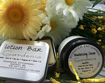 Gardenia Lotion Bar and Moisturizing Cream - All Natural Body and Facial Moisturizers - Natural Beauty Bar - Mom Gift - Boondock Enterprises