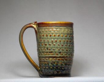 pottery coffee cup, 10oz pottery mug, handmade pottery mug