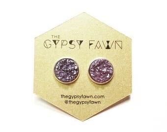 Matte Purple Large Druzy Galaxy Stud Earrings