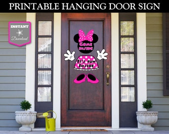 INSTANT DOWNLOAD Printable Hot Pink Mouse Hanging Door Sign / Hot Pink Mouse Collection / Item #1746