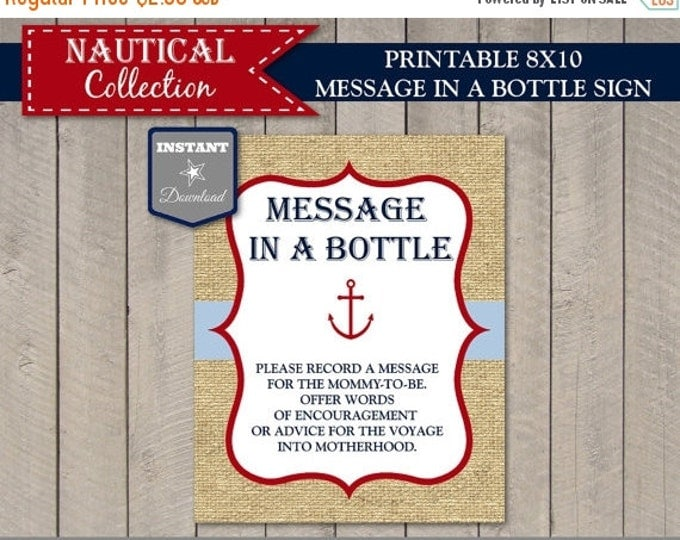 SALE INSTANT DOWNLOAD Printable Nautical 8x10 Message in a Bottle Sign / Baby Shower / Nautical Collection / Item #612