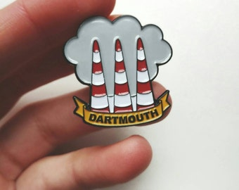 "FREE SHIPPING DOMESTIC Dartmouth Smokestacks 1.25"" Enamel Pin"