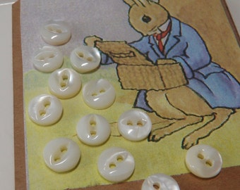 12 Tiny Mother of Pearl Baby Doll Buttons Extra Small Pearl Buttons