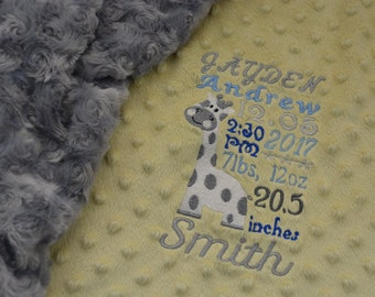 Minky Tag Blanket... Personalized Birth Announcement Baby Blanket For Girl Or Boy... Minky Security Blanket