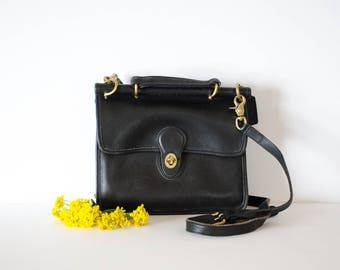Vintage 1990's Black Leather Coach Crossbody Handbag