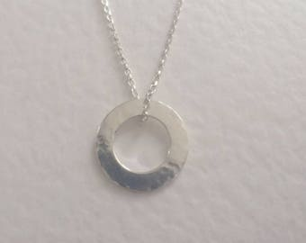 Sterling Silver Circle Pendant Necklace, Silver Washer Pendant, Sterling Silver Round Infinity Necklace, Silver Jewellery, Modern Silver