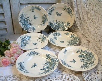 Set of 6 Antique french teal transferware soup plates. Teal transferware. Jasmine. Butterflies. Blue green transferware. salad plates.