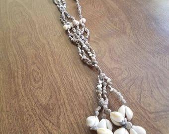 Vintage shell super long necklace
