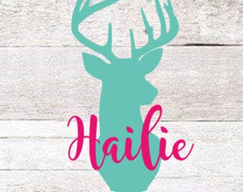 Deer Name Decal | Deer Head Decal | Browning Decal | Country Decal | Yeti Decal | Cute Decal