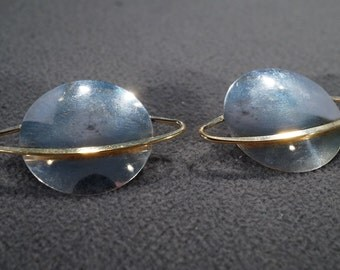 vintage sterling silver fashion earrings with large round spheres with contrasting orbits    M1