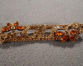 Vintage Art Deco Style Yellow Gold Tone Rhinestone Glass Stone Amber Pin Brooch Jewelry -K#29
