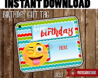 Emoji Gift Tag | Birthday Gift Tag | Emoji Tag | Emoji | Emoji present| Digital | PDF | Printable | School Tag | Gift Tag | INSTANT DOWNLOAD