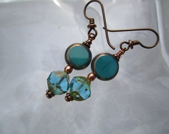 Pretty Little Teal Turquoise and Aqua Bronze Czech Glass Earrings Opaque and Translucent Earrings Secure Hypoallergenic Niobium French Hooks