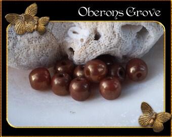 10 round beads 4mm Orange Ochre