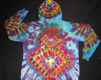 Psychedelic Tie Dye Zip Up Hoodie Sweatshirt, Junior Size XL
