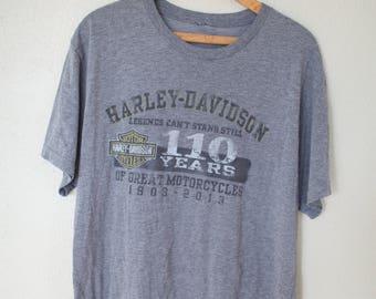vintage harley davidson  wenatchee washington gray t shirt *