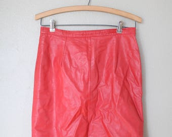 vintage red leather mid length skirt 28