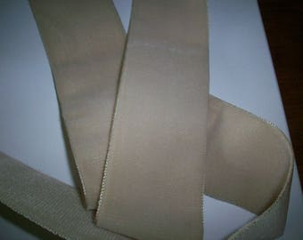 "Velvet Nylon/Rayon Ribbon Trim in ""Linen"" or White 1 1/2""  wide Yardage available old store stock"