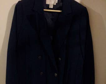 Womens Blue Double-Breasted Blazer