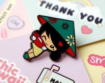 Enamel pin Lovely and beautiful little Chinese girl by Chic kawaii.