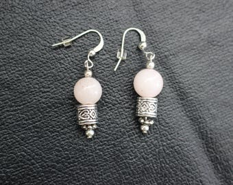 Silver Earrings with Pink Bead - Great Gift!
